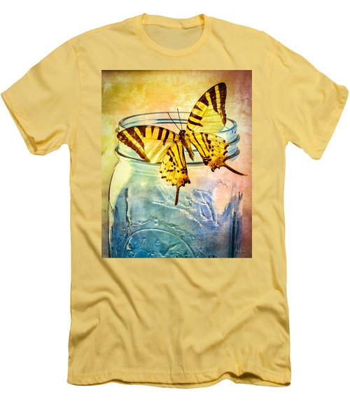 Butterfly Blue Glass Jar Men's T-Shirt (Slim Fit) by Bob Orsillo
