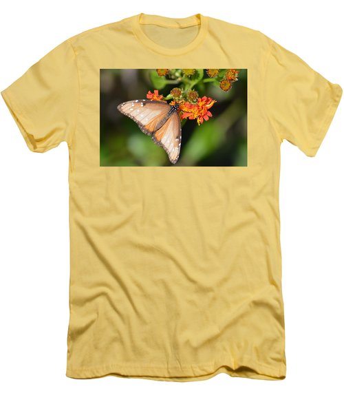 Butterfly On Mexican Flame Men's T-Shirt (Slim Fit) by Debra Martz