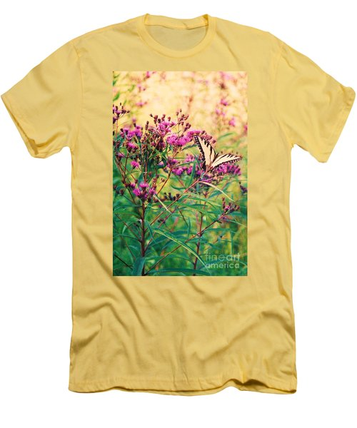 Men's T-Shirt (Slim Fit) featuring the painting Butterfly Wildflower by Eric  Schiabor