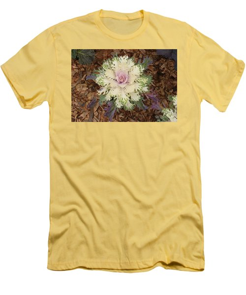 Cabbage Rose Men's T-Shirt (Slim Fit) by Victoria Harrington