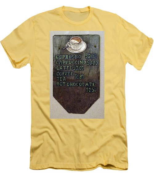 Cafe Sign On Slate Men's T-Shirt (Slim Fit) by Joyce  Wasser