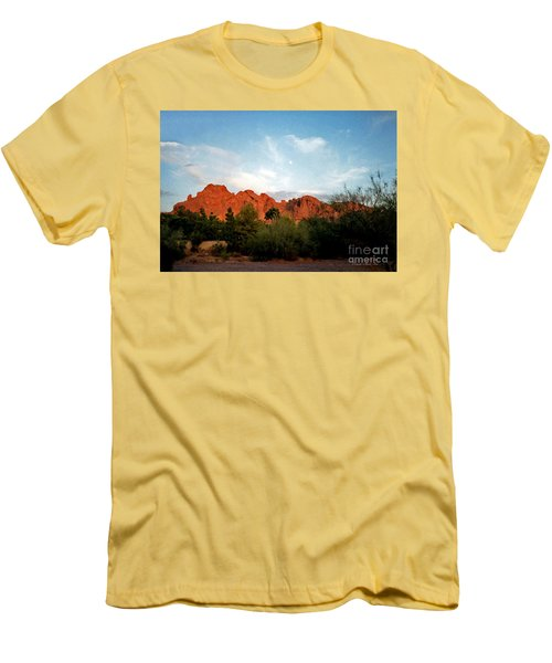 Camelback Mountain And Moon Men's T-Shirt (Slim Fit) by Connie Fox