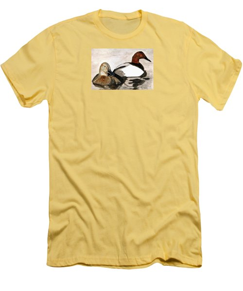 Canvasback Couple Men's T-Shirt (Slim Fit) by Angela Davies