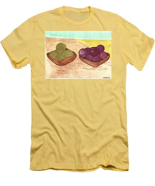 Men's T-Shirt (Slim Fit) featuring the painting Castaway Fruit by Tracey Williams