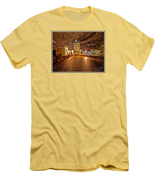 Charles Bridge At Night Men's T-Shirt (Slim Fit) by Madeline Ellis