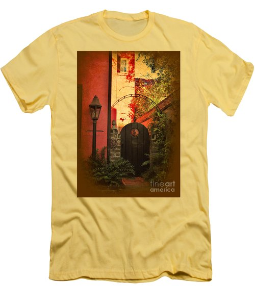 Men's T-Shirt (Slim Fit) featuring the photograph Charleston Garden Entrance by Kathy Baccari