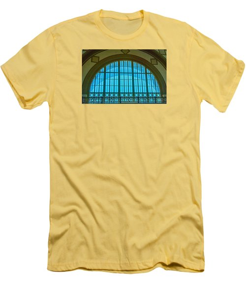 Men's T-Shirt (Slim Fit) featuring the photograph Chattanooga Train Depot Stained Glass Window by Susan  McMenamin