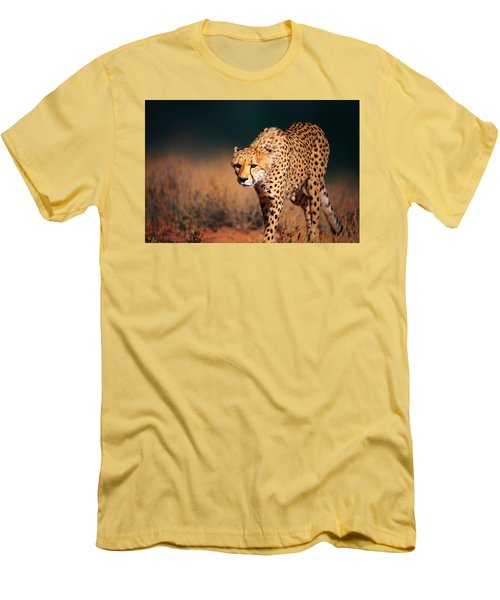 Cheetah Approaching From The Front Men's T-Shirt (Athletic Fit)