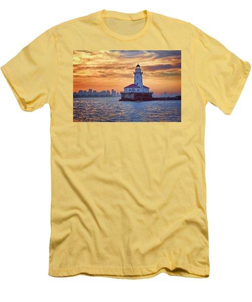Men's T-Shirt (Slim Fit) featuring the digital art Chicago Lighthouse Impression by John Hansen