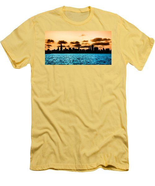 Chicago Skyline Silhouette Men's T-Shirt (Slim Fit) by Semmick Photo