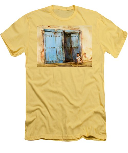 Men's T-Shirt (Slim Fit) featuring the painting Child Sitting In Old Zanzibar Doorway by Sher Nasser