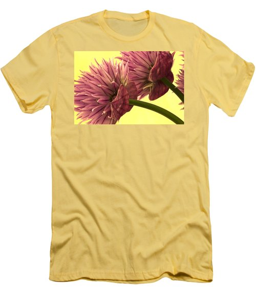 Men's T-Shirt (Slim Fit) featuring the photograph Chive Macro Beauty by Sandra Foster