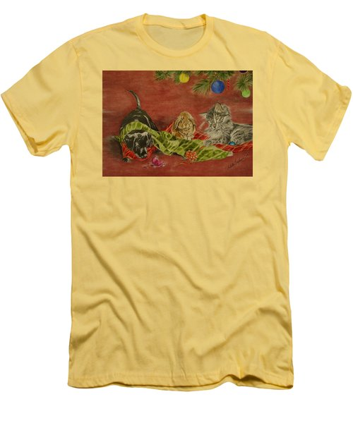 Men's T-Shirt (Slim Fit) featuring the drawing Christmas Friends by Melita Safran