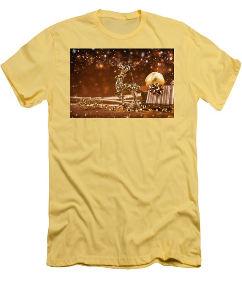 Christmas Reindeer In Gold Men's T-Shirt (Slim Fit) by Doc Braham