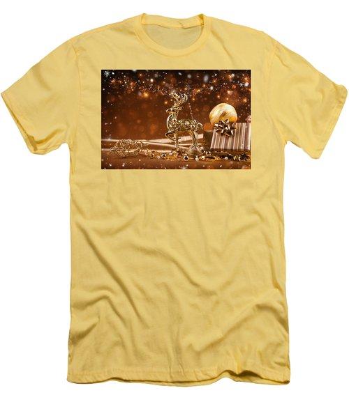 Christmas Reindeer In Gold Men's T-Shirt (Slim Fit)