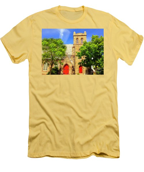 Men's T-Shirt (Slim Fit) featuring the photograph Church And Red Doors by Becky Lupe