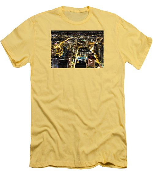 Men's T-Shirt (Slim Fit) featuring the photograph Cityscape Golden Burrard Bridge Mdlxiv by Amyn Nasser