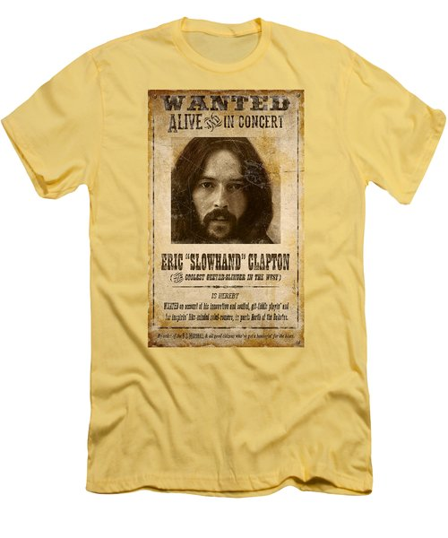 Clapton Wanted Poster Men's T-Shirt (Athletic Fit)