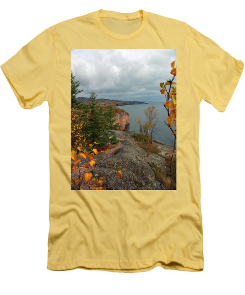 Men's T-Shirt (Slim Fit) featuring the photograph Cliffside Fall Splendor by James Peterson