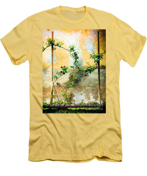 Men's T-Shirt (Slim Fit) featuring the photograph Climbing Rose Plant by Silvia Ganora
