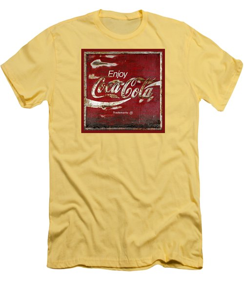 Coca Cola Red Grunge Sign Men's T-Shirt (Slim Fit) by John Stephens