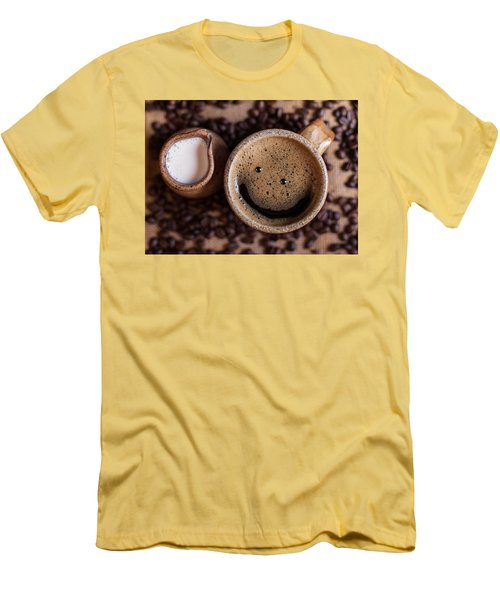 Coffee With A Smile Men's T-Shirt (Slim Fit) by Aaron Aldrich