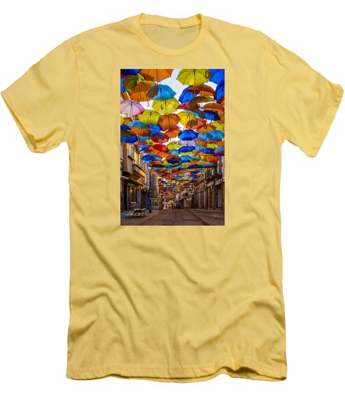 Colorful Floating Umbrellas Men's T-Shirt (Slim Fit) by Marco Oliveira