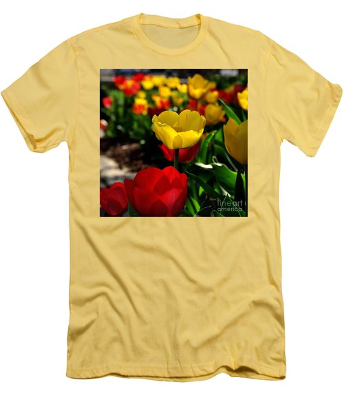 Colorful Spring Tulips Men's T-Shirt (Slim Fit) by Nava Thompson
