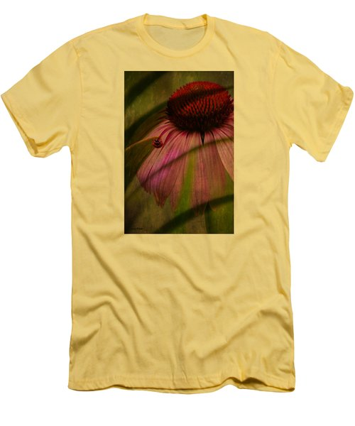 Cone Flower And The Ladybug Men's T-Shirt (Slim Fit) by Lesa Fine