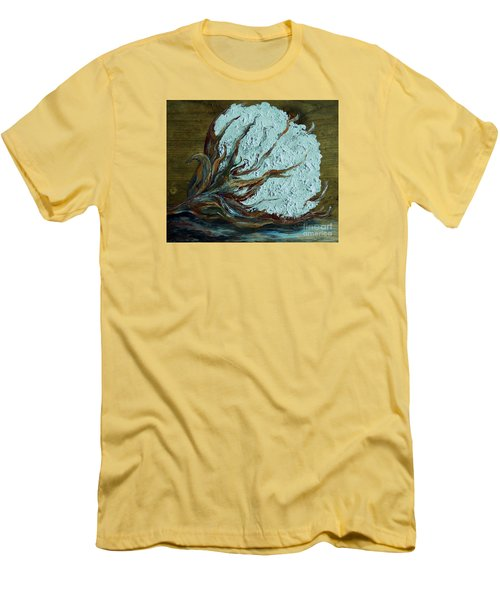 Cotton Boll On Wood Men's T-Shirt (Slim Fit) by Eloise Schneider