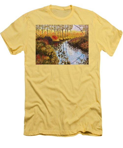 Men's T-Shirt (Slim Fit) featuring the painting Cranberry Bog by Jason Williamson