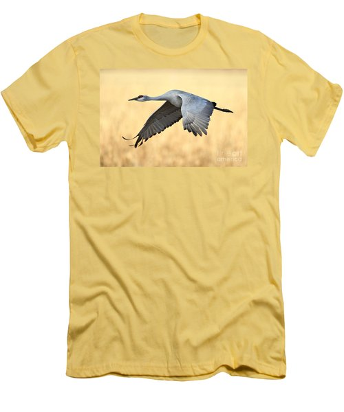 Crane Over Golden Field Men's T-Shirt (Athletic Fit)
