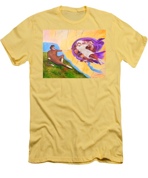 Creation Of A Sock Monkey Men's T-Shirt (Slim Fit) by Randy Burns