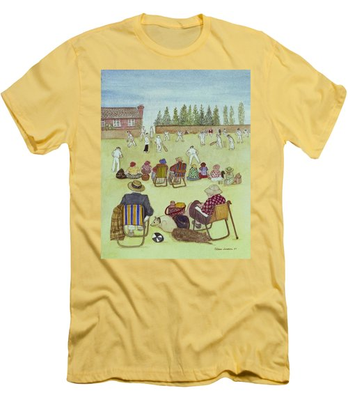 Cricket On The Green, 1987 Watercolour On Paper Men's T-Shirt (Slim Fit) by Gillian Lawson