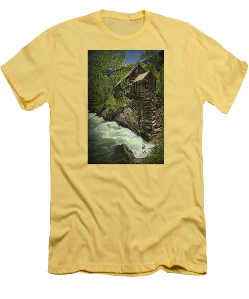 Men's T-Shirt (Slim Fit) featuring the photograph Crystal Mill by Priscilla Burgers