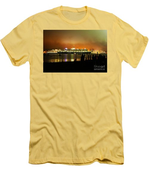 Men's T-Shirt (Slim Fit) featuring the photograph Cunard's 3 Queens by Terri Waters
