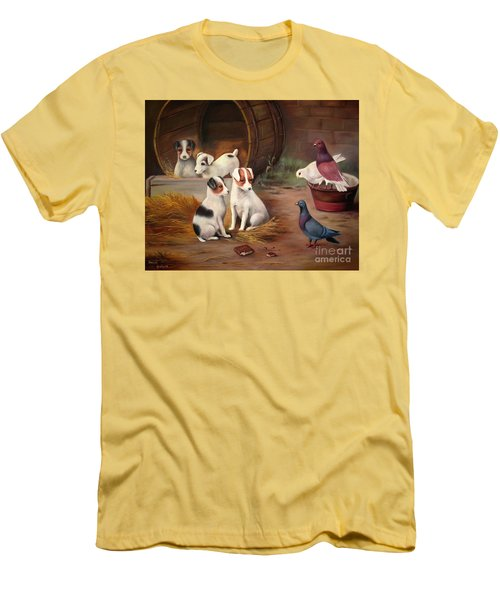 Men's T-Shirt (Slim Fit) featuring the painting Curious Friends by Hazel Holland