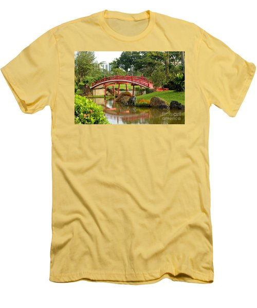 Curved Red Japanese Bridge And Stream Chinese Gardens Singapore Men's T-Shirt (Slim Fit) by Imran Ahmed