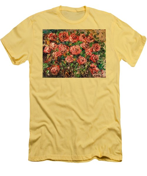 Men's T-Shirt (Athletic Fit) featuring the painting Dancing Red Roses by Laurie L
