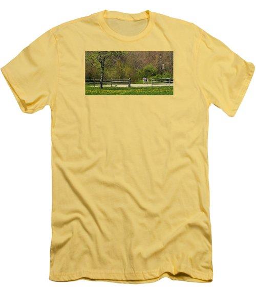 Men's T-Shirt (Slim Fit) featuring the photograph Dandelion Dressage by Joan Davis