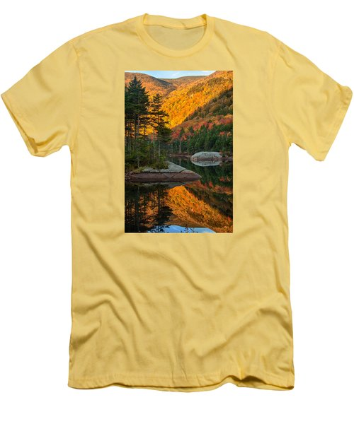 Men's T-Shirt (Slim Fit) featuring the photograph Dawns Foliage Reflection by Jeff Folger