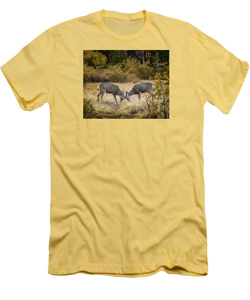 Men's T-Shirt (Slim Fit) featuring the photograph Deer Games by Janis Knight