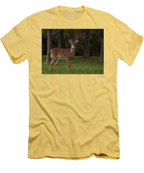 Men's T-Shirt (Slim Fit) featuring the photograph Deer In Headlight Look by Tammy Espino