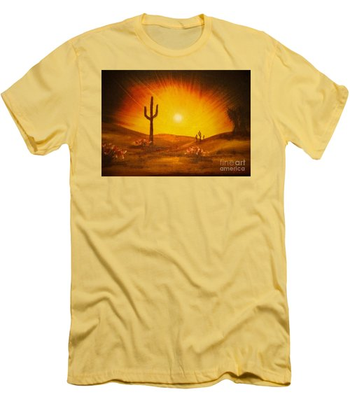 Desert Aglow Men's T-Shirt (Slim Fit) by Becky Lupe