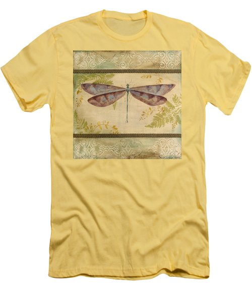 Dragonfly Among The Ferns-3 Men's T-Shirt (Slim Fit) by Jean Plout