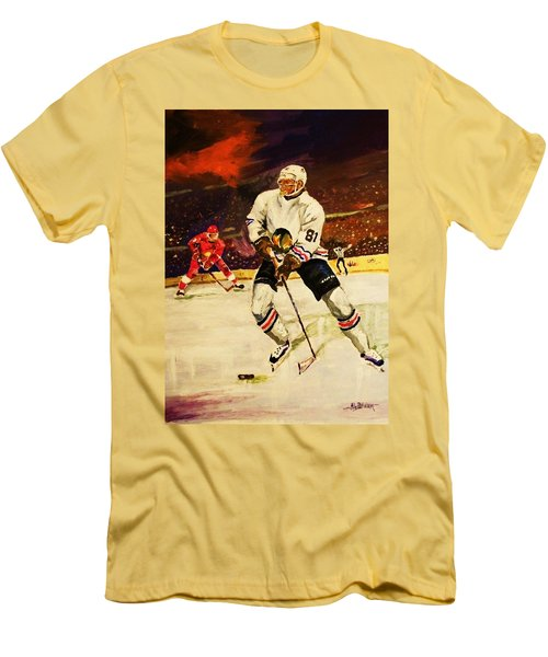 Men's T-Shirt (Slim Fit) featuring the painting Drama On Ice by Al Brown