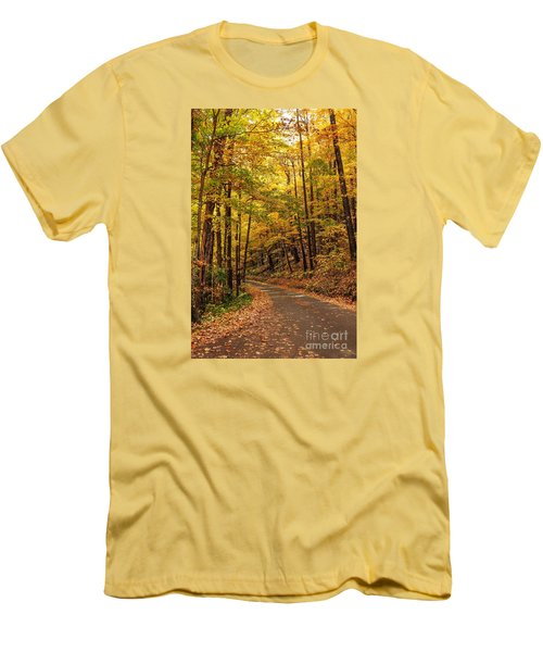 Men's T-Shirt (Slim Fit) featuring the photograph Driving Fall Mountain Roads. by Debbie Green
