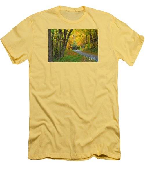 Men's T-Shirt (Slim Fit) featuring the photograph Driving Into Fall by Geraldine DeBoer