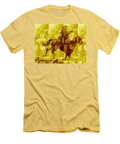Men's T-Shirt (Slim Fit) featuring the digital art Duel In The Saddle 1 by Seth Weaver