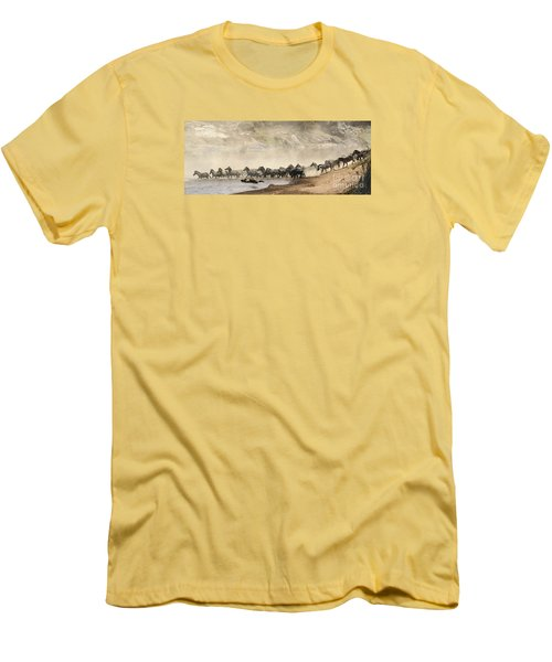 Men's T-Shirt (Slim Fit) featuring the photograph Dusty Crossing by Liz Leyden